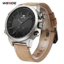 Men's Sport LED Digital Quartz Watch Waterproof Leather Dual Display Alarm WEIDE