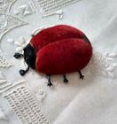 Wonderful+Old+Ladybug+Pin+Cushion+Soft+Metal+Legs+Glass+Eyes+Red+%26+Black+Velvet+
