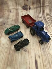 Estate Lot 5 Antique Tootsietoy Toy Cars Tractor Roadster Fiat Chevy Step Side