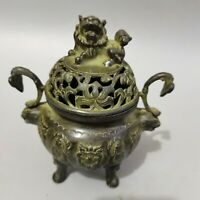Collect China fengshui old copper Bronze ruyi Two ears Incense Burner lion lid
