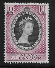 Malaya Selangor Scott #101, Single 1953 Complete Set FVF MH