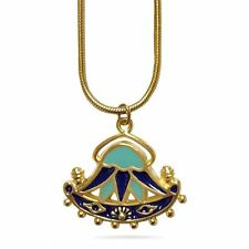 Egyptian Lotuses Aqua and Royal Blue Lotus Flower Pendant Necklace 18""
