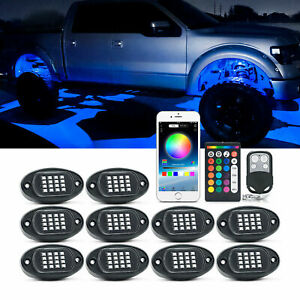 MICTUNING 10 Pods RGB LED Rock Lights Offroad Underbody Music Bluetooth APP