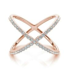 Cross X Ring Rose Gold White Gold 14k Solid Gold Diamond X Band Fashion Criss