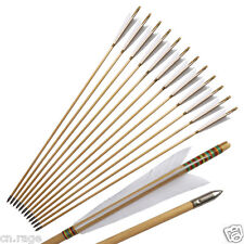 12Pcs Handmade Wooden Arrows Japanese Style White Turkeys Feather For Longbow
