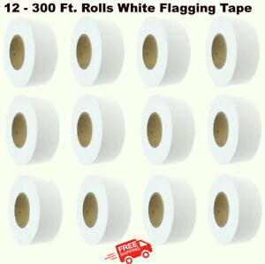(12) Rolls 300' WHITE FLAGGING TAPE  Highly Visible Polyethylene Marking Ribbon