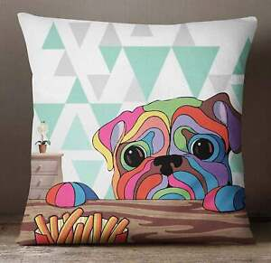 S4Sassy Pug Dog Print Decorative MultiColour Square Cushion Cover-MSV