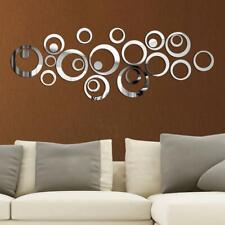 Circle Mirror Tiles Wall Stickers Bedroom Decal Self-Adhesive DIY Home Art Decor