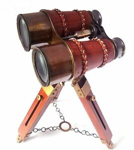 """Maritime 14"""" Antique Solid Brass Red Leather Vintage Binocular with Tripod Stand"""