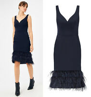 COAST NEW Navy Blue Feather Hem Evening Wedding Cocktail Party Occasion Dress