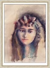 original drawing A4 41KT art samovar female portrait Signed watercolor 2020