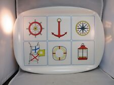 Vtg plastic outdoor patio serving tray. Nautical theme. Made in Italy