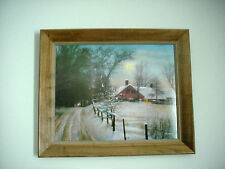VINTAGE LARGE CHARLES SAWYER,  MOONRISE COTTAGE, SIGNED FRAMED PRINT
