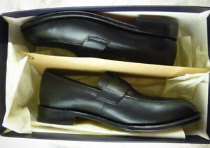 Brooks Brothers Penny Loafers Black Hand Sewn Leather Size 10D NEW Boxed $250