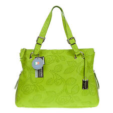 GIORDANO Italian Made Green Flower Embossed Natural Leather Designer Tote Bag
