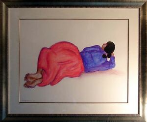R.C Gorman Untitled Original Pastel Drawing Hand Signed Custom Framed Make Offer