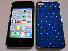 Dark Blue Diamond BLING Designer Luxury Glitter iPhone 4 4G 4S Full Back Case