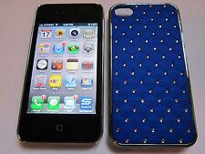 Dark Blue Diamond BLING Designer Luxury Glitter iPhone 4 4G 4S Full Back Case
