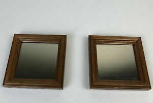 Vintage Small Square Diamond Wood Frame Square Wall Mirror 5 in x 5 in