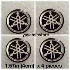 1.57 inch (4.cm) x 4 pieces Black Genuine YAMAHA resin Gel sticker logo decal
