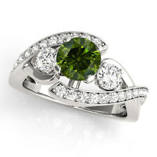 1.01 Carat Green Diamond Classy Engagement Ring 14k White Gold Best Price Beauty