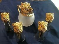 Mid Century Carole Stupell Gold Lions Head Pitcher 4 Stirrup Cups Glass (572)