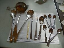 VINTAGE SILVER PLATE 13 PC LOT; SOUP LADDLE SERVING PC'S & SM SPOONS INV. #1985