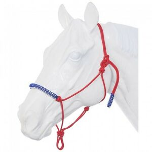 Tough 1 Red/White and Blue Poly Rope Tied Halter w/Crystal Accents 50-5000
