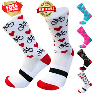 Cycling Socks Girl Women - Sports Outdoor Breathable Running Compression Hearts