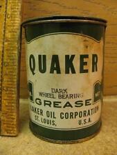Vintage 1 lb Quaker Dark Wheel Bearing Grease Can Metal Tin Gas Oil