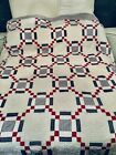 vintage+patchwork+quilt+fixer+or+cutter+White+Farmhouse+Country+Shabby+Red+Blue