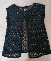Next Black Floral Sheer Lace Open Back Top Uk Size 10