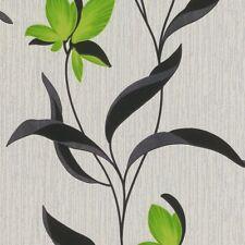 Fleur Green White Metallic Silver Glitter Leaf Floral Feature Wallpaper 9730-07