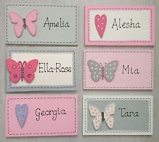 Handmade Personalised Name Plaque Bedroom Door Sign Girls Butterfly Heart