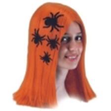 Perruque mi longue orange avec autocollants araignées raide sans frange [2826]