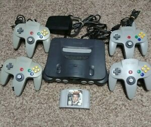 Nintendo 64 N64 Console bundle w/ 4 OEM controllers goldeneye 007 UPGRADED WOW