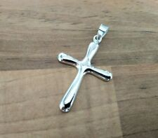 925 Sterling Silver - Large Solid Plain Silver Cross Pendant - Height 40mm