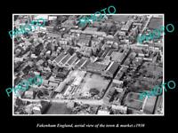 OLD 6 X 4 HISTORIC PHOTO OF FAKENHAM ENGLAND VIEW OF THE TOWN & MARKET c1930