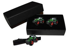 Fendt 939 Tractor Cufflinks & Tie Clip GIFT Boxed Enamel Farming Green