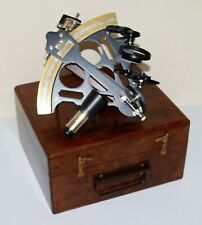 Brass nautical marine sextant 100% working astrolabe maritime with wooden box
