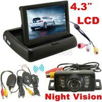 Wireless Rear View Kit 4.3'' inch Foldable LCD Monitor IR 7 LED Reversing