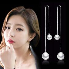 New Womens 925 Sterling Silver 2 Freshwater Pearl Long Chain/Link Stud Earrings