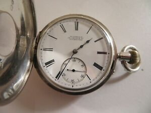 SUPERB 1888 SOLID SILVER THos  RUSSELL antique HALF HUNTER POCKET WATCH  WORKING