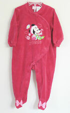DISNEY Size 12 Months Girls Red Velour Bodysuit Romper