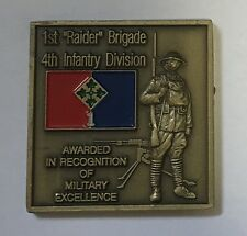 "US Army 1st ""Raider"" Brigade 4th infantry Division WWI WWII Vietnam Iraq Coin"