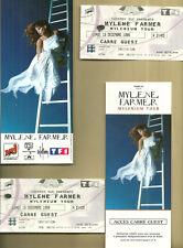 RARISSIME 2 TICKETS CONCERTS MYLENE FARMER + CARTON INVITATION A PARIS 1999