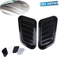 2x Decorative Adhesive Bonnet Hoop Scoop Air Side Vent Intake Fender Cover Black