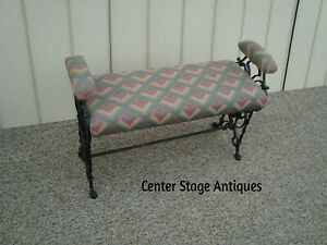 60066 Figural Cast Iron Antique Window Bench Stool Chair with GRYPHON Figures