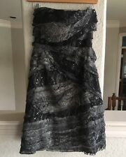 Anthropologie Tracy Reese Strapless Dress  Spliced Lace Black Sequin 0 NWT $450