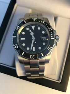 Men's Black Classic Watch, Automatic Movement, Ceramic Bezel + Presentation Box
